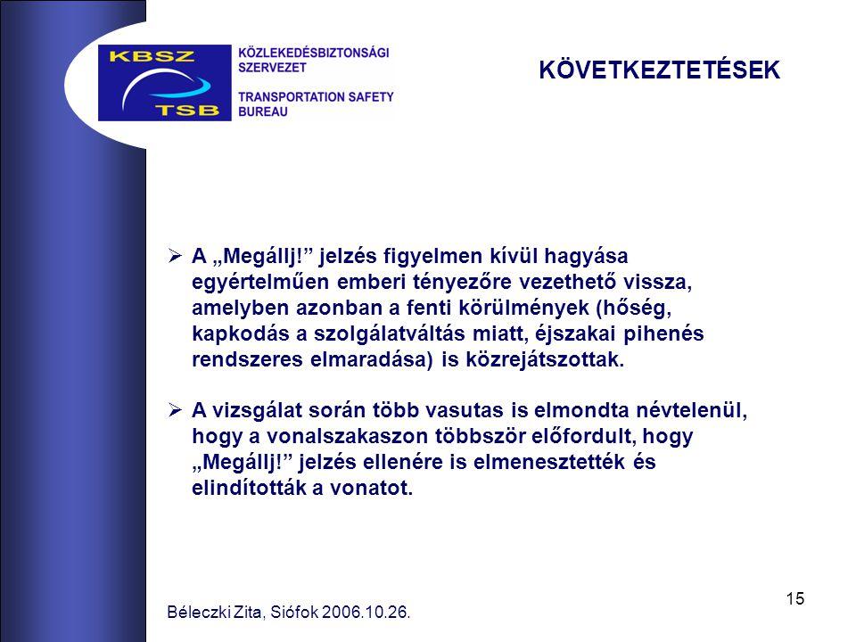 """15 Béleczki Zita, Siófok 2006.10.26.  A """"Megállj!"""" jelzés figyelmen kívül hagyása egyértelműen emberi tényezőre vezethető vissza, amelyben azonban a"""