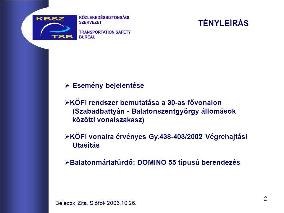 2 Béleczki Zita, Siófok 2006.10.26. TÉNYLEÍRÁS   Esemény bejelentése  KÖFI rendszer bemutatása a 30-as fővonalon (Szabadbattyán - Balatonszentgyörg