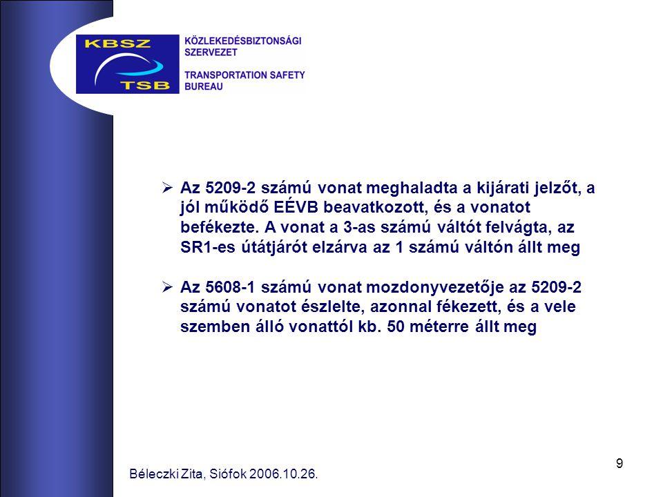 9 Béleczki Zita, Siófok 2006.10.26.  Az 5209-2 számú vonat meghaladta a kijárati jelzőt, a jól működő EÉVB beavatkozott, és a vonatot befékezte. A vo