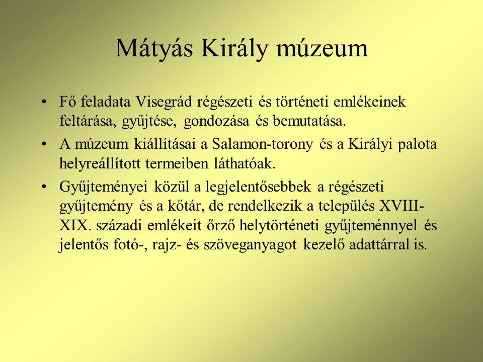 Mátyás Király múzeum •Fő feladata Visegrád régészeti és történeti emlékeinek feltárása, gyűjtése, gondozása és bemutatása. •A múzeum kiállításai a Sal