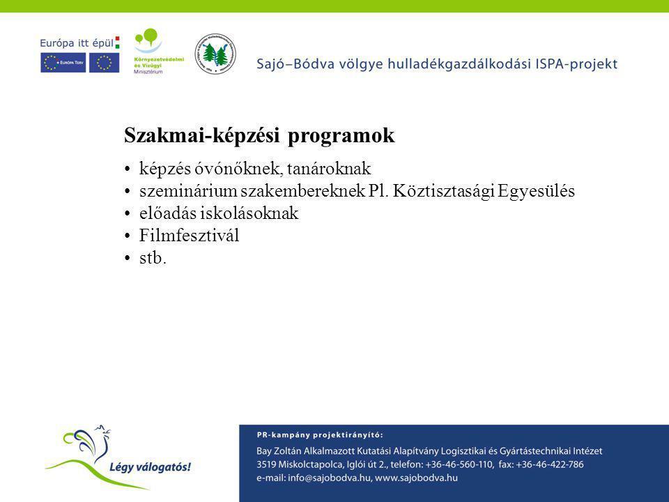 Szakmai-képzési programok • képzés óvónőknek, tanároknak • szeminárium szakembereknek Pl.