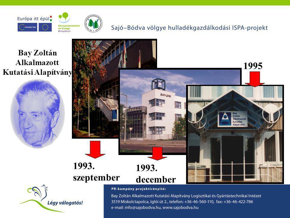 1993. szeptember 1993. december 1995 Bay Zoltán Alkalmazott Kutatási Alapítvány