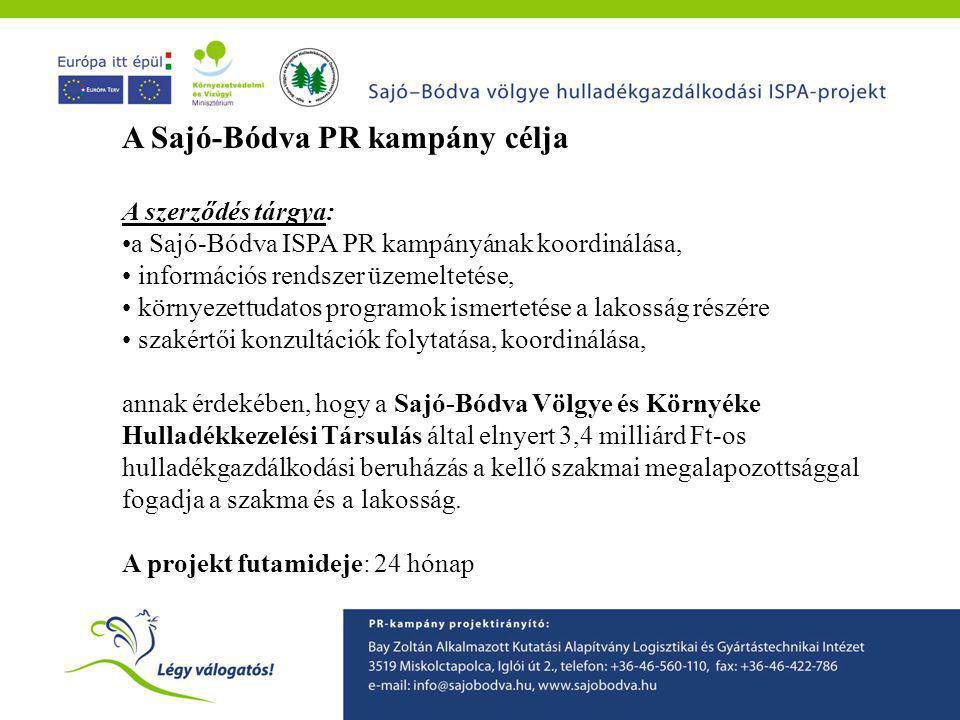 A Sajó-Bódva PR kampány célja A szerződés tárgya: •a Sajó-Bódva ISPA PR kampányának koordinálása, • információs rendszer üzemeltetése, • környezettuda