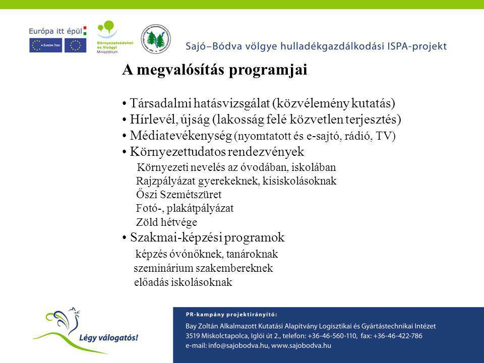 A megvalósítás programjai • Társadalmi hatásvizsgálat (közvélemény kutatás) • Hírlevél, újság (lakosság felé közvetlen terjesztés) • Médiatevékenység