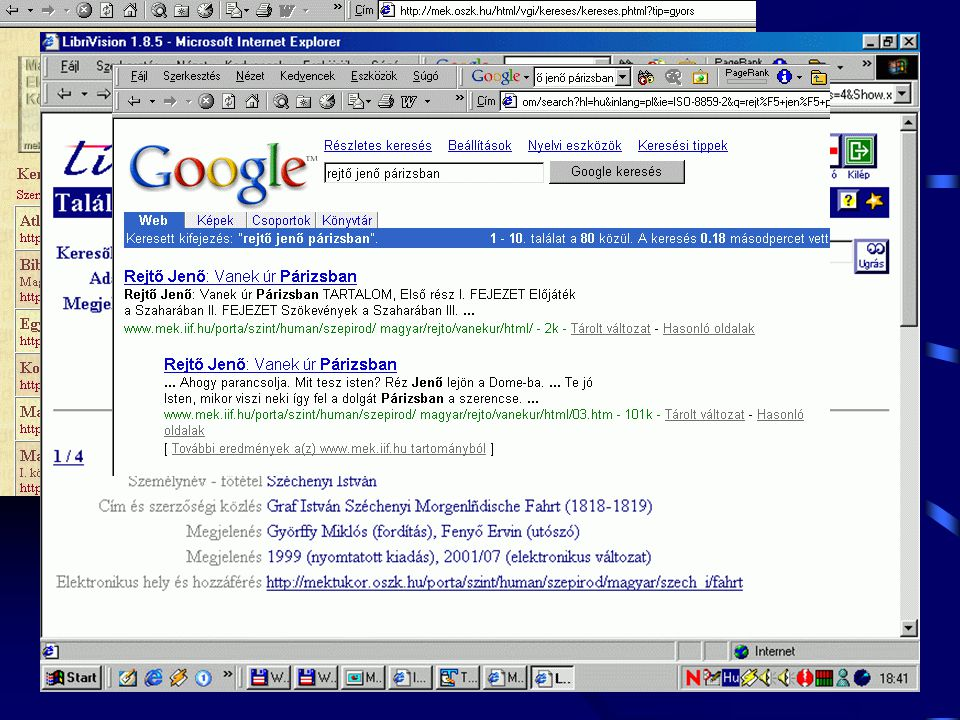 Keresés •Saját katalógus, összetett keresés •Teljes szövegű •Zebra - Z39.50 - XML •Keresés-lekérdezés  ZAP - LibriVision •Indexelők, pl.