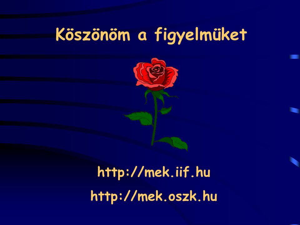Köszönöm a figyelmüket http://mek.iif.hu http://mek.oszk.hu