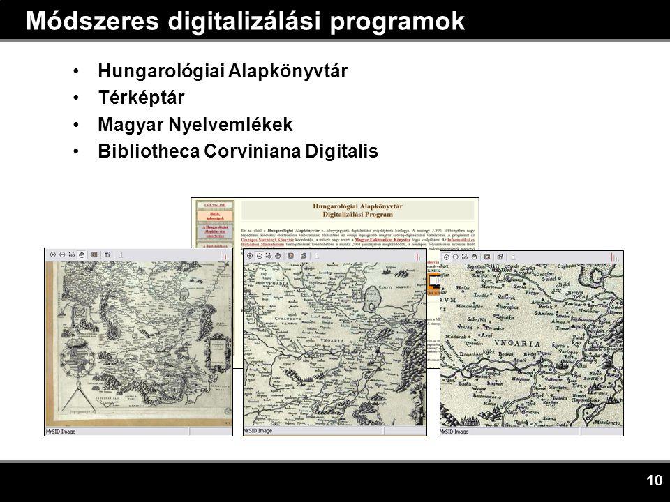 10 Módszeres digitalizálási programok •Hungarológiai Alapkönyvtár •Térképtár •Magyar Nyelvemlékek •Bibliotheca Corviniana Digitalis