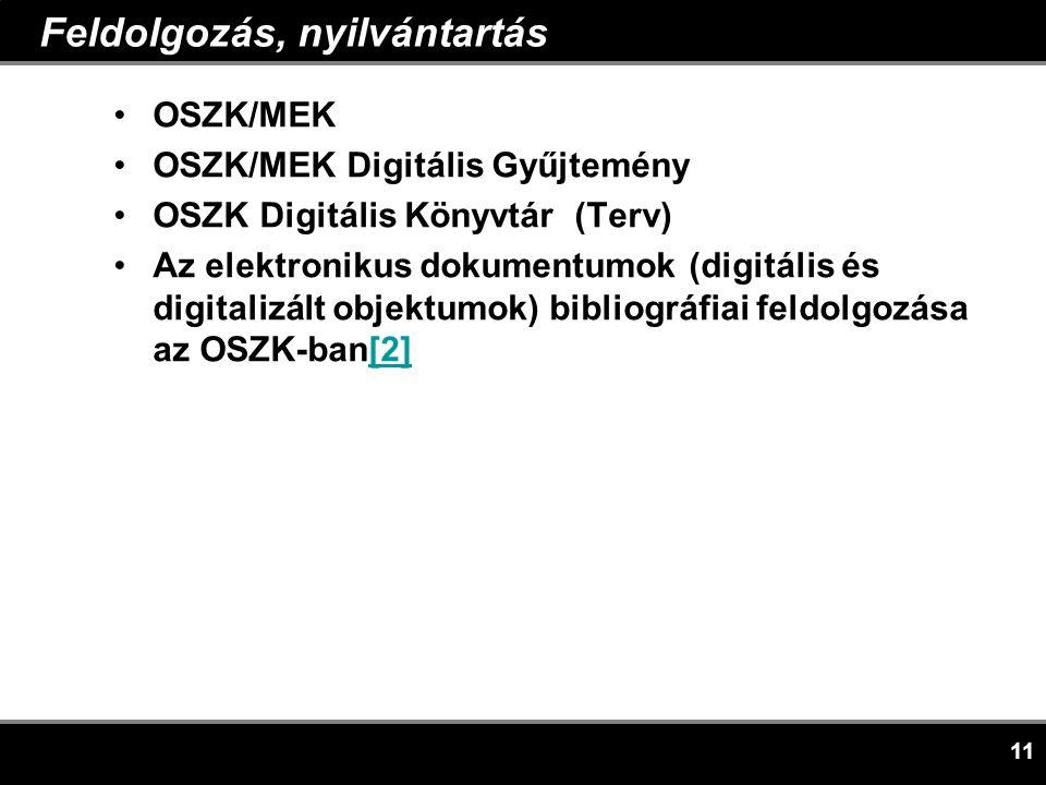 11 Feldolgozás, nyilvántartás •OSZK/MEK •OSZK/MEK Digitális Gyűjtemény •OSZK Digitális Könyvtár (Terv) •Az elektronikus dokumentumok (digitális és digitalizált objektumok) bibliográfiai feldolgozása az OSZK-ban[2][2]