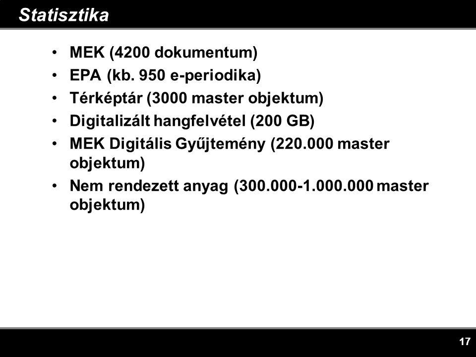 17 Statisztika •MEK (4200 dokumentum) •EPA (kb.