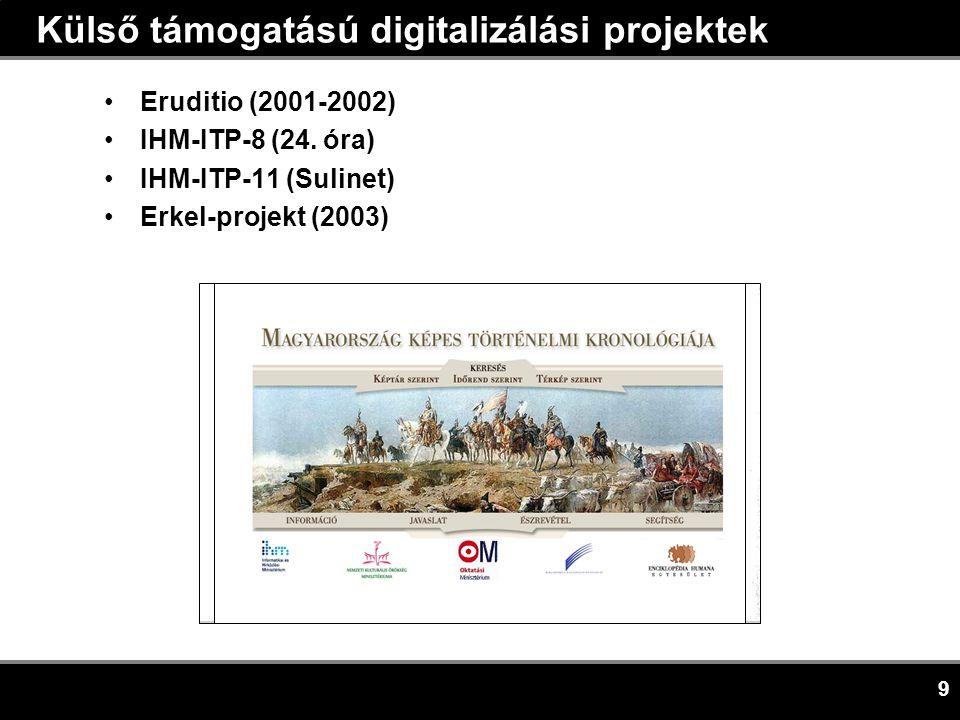 9 Külső támogatású digitalizálási projektek •Eruditio (2001-2002) •IHM-ITP-8 (24.