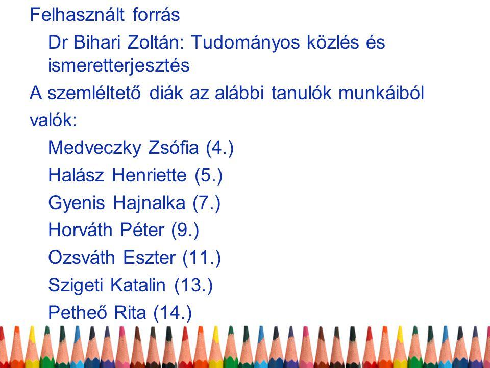 Felhasznált forrás Dr Bihari Zoltán: Tudományos közlés és ismeretterjesztés A szemléltető diák az alábbi tanulók munkáiból valók: Medveczky Zsófia (4.