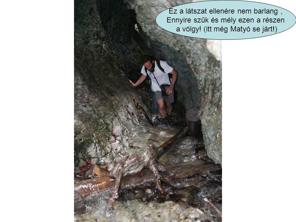 Ez a látszat ellenére nem barlang, Ennyire szűk és mély ezen a részen a völgy! (itt még Matyó se járt!)