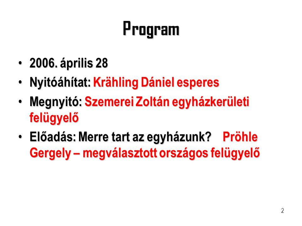 2 Program • 2006. április 28 • Nyitóáhítat: Krähling Dániel esperes • Megnyitó: Szemerei Zoltán egyházkerületi felügyelő • Előadás: Merre tart az egyh