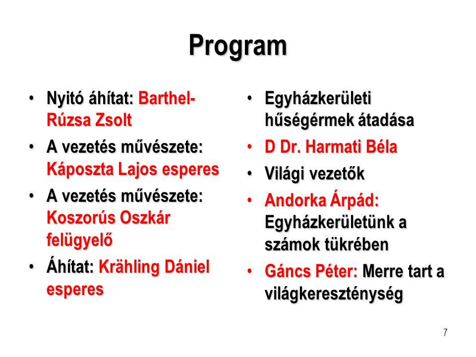 7 Program • Nyitó áhítat: Barthel- Rúzsa Zsolt • A vezetés művészete: Káposzta Lajos esperes • A vezetés művészete: Koszorús Oszkár felügyelő • Áhítat
