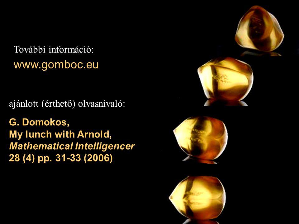 www.gomboc.eu További információ: ajánlott (érthető) olvasnivaló: G. Domokos, My lunch with Arnold, Mathematical Intelligencer 28 (4) pp. 31-33 (2006)