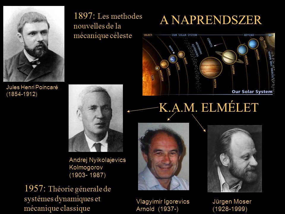 Jules Henri Poincaré (1854-1912) Andrej Nyikolajevics Kolmogorov (1903- 1987) Jürgen Moser (1928-1999) Vlagyimir Igorevics Arnold (1937-) A NAPRENDSZE