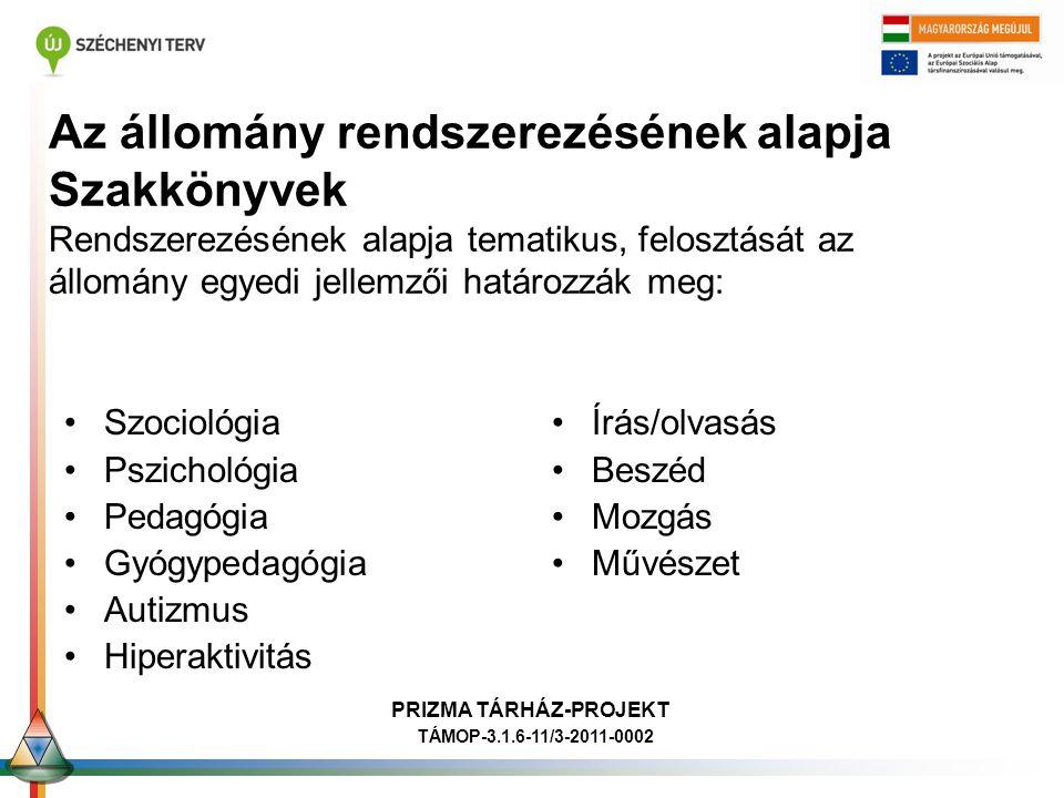 Ori Finommotorika PRIZMA TÁRHÁZ-PROJEKT TÁMOP-3.1.6-11/3-2011-0002