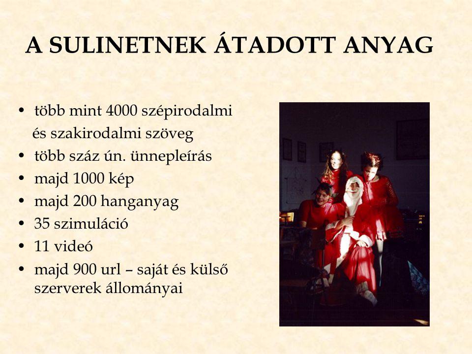 A SULINETNEK ÁTADOTT ANYAG •több mint 4000 szépirodalmi és szakirodalmi szöveg •több száz ún. ünnepleírás •majd 1000 kép •majd 200 hanganyag •35 szimu