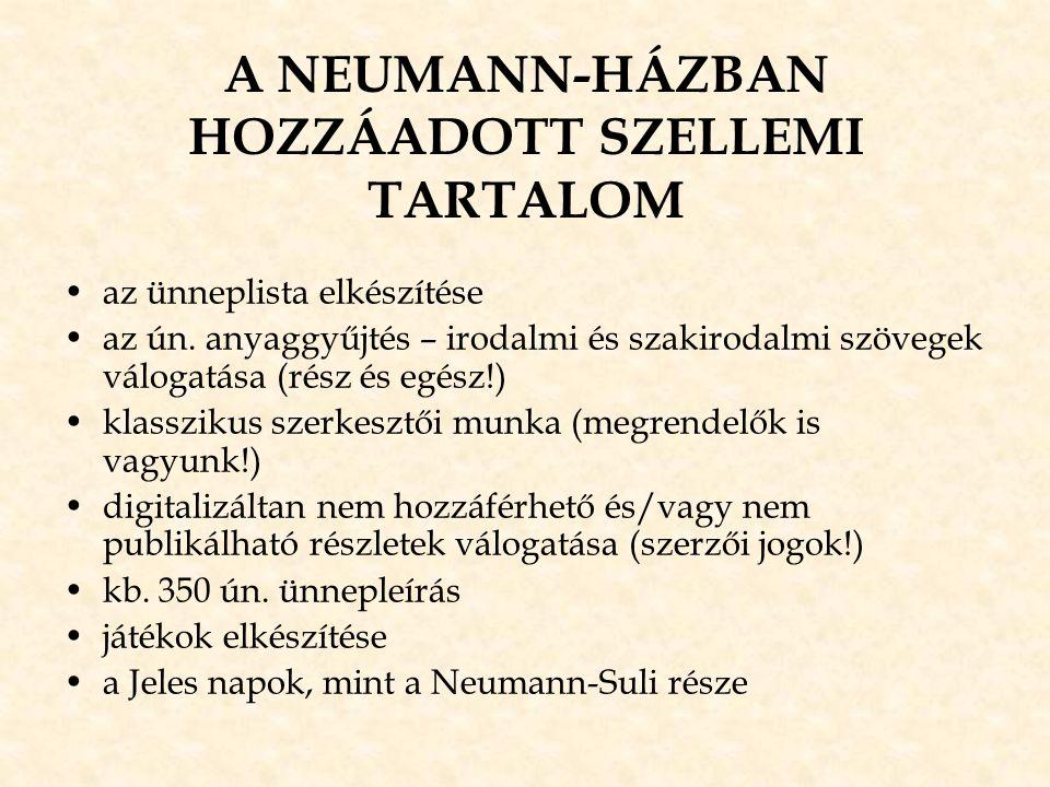 A NEUMANN-HÁZBAN HOZZÁADOTT SZELLEMI TARTALOM •az ünneplista elkészítése •az ún. anyaggyűjtés – irodalmi és szakirodalmi szövegek válogatása (rész és