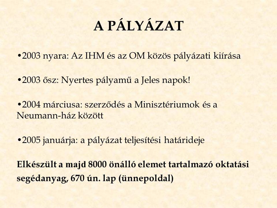 A PÁLYÁZAT •2003 nyara: Az IHM és az OM közös pályázati kiírása •2003 ősz: Nyertes pályamű a Jeles napok! •2004 márciusa: szerződés a Minisztériumok é