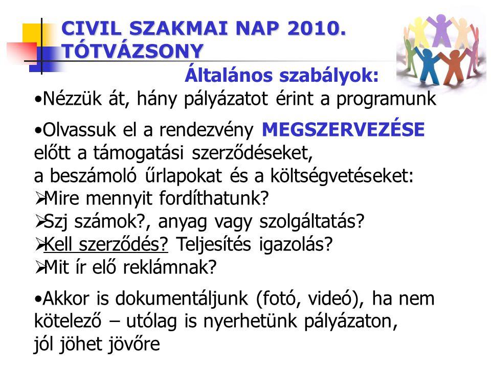 CIVIL SZAKMAI NAP 2010. TÓTVÁZSONY Általános szabályok: •Nézzük át, hány pályázatot érint a programunk •Olvassuk el a rendezvény MEGSZERVEZÉSE előtt a