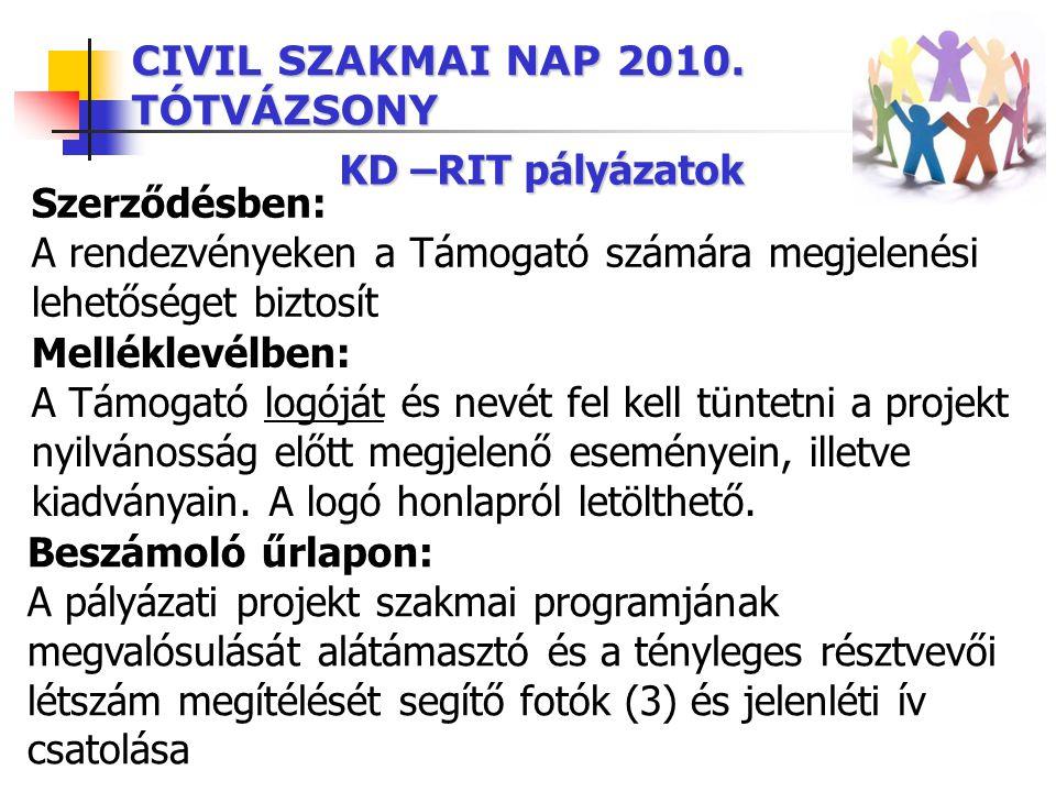 CIVIL SZAKMAI NAP 2010. TÓTVÁZSONY KD –RIT pályázatok Szerződésben: A rendezvényeken a Támogató számára megjelenési lehetőséget biztosít Beszámoló űrl