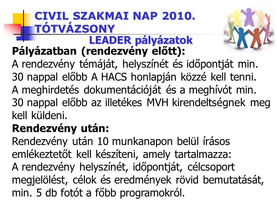 CIVIL SZAKMAI NAP 2010. TÓTVÁZSONY LEADER pályázatok Pályázatban (rendezvény előtt): A rendezvény témáját, helyszínét és időpontját min. 30 nappal elő