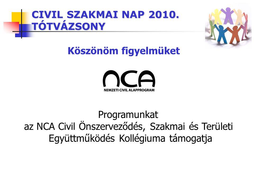 CIVIL SZAKMAI NAP 2010. TÓTVÁZSONY Programunkat az NCA Civil Önszerveződés, Szakmai és Területi Együttműködés Kollégiuma támogatja Köszönöm figyelmüke