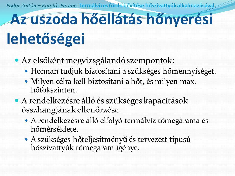 Fodor Zoltán – Komlós Ferenc: Termálvizes fürdő bővítése hőszivattyúk alkalmazásával Az uszoda hőellátás hőnyerési lehetőségei  Az elsőként megvizsgá