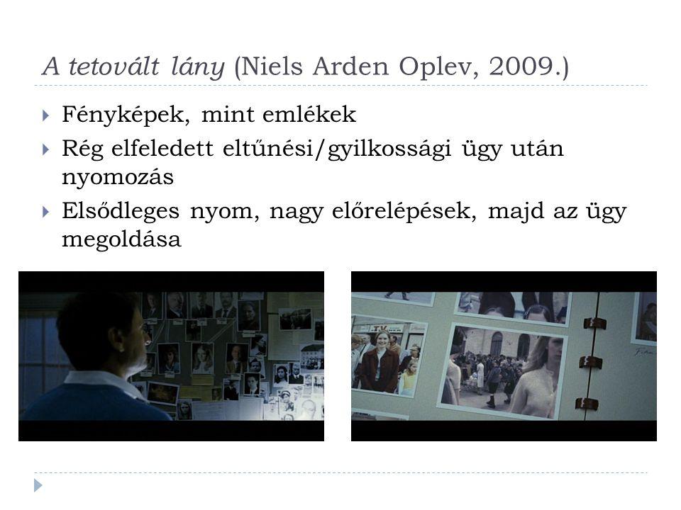 A tetovált lány (Niels Arden Oplev, 2009.)  Fényképek, mint emlékek  Rég elfeledett eltűnési/gyilkossági ügy után nyomozás  Elsődleges nyom, nagy előrelépések, majd az ügy megoldása