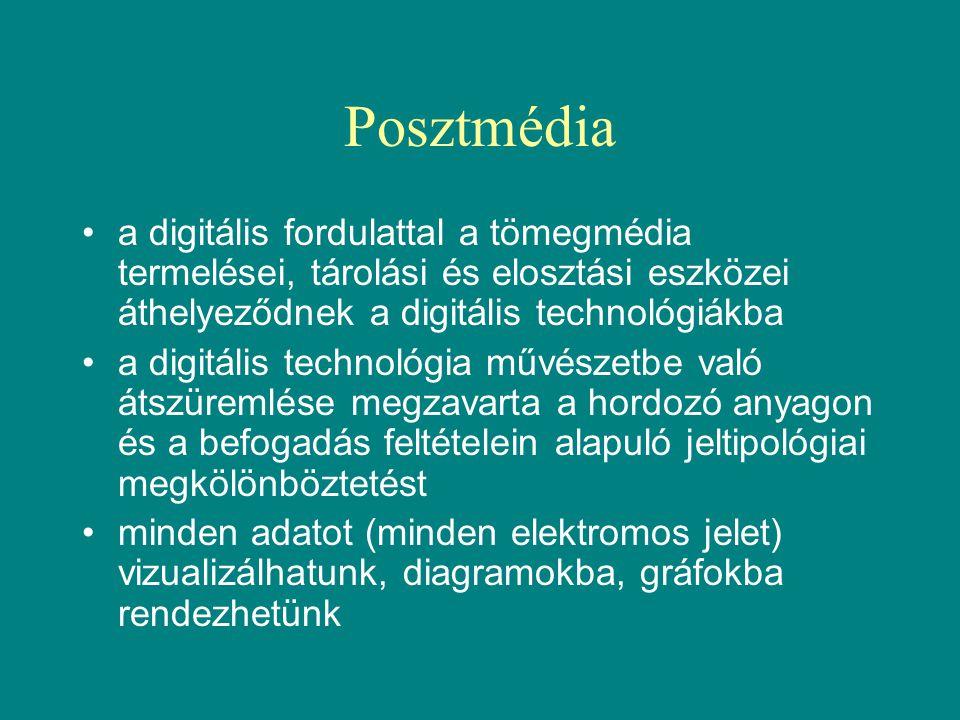 Posztmédia •a digitális fordulattal a tömegmédia termelései, tárolási és elosztási eszközei áthelyeződnek a digitális technológiákba •a digitális technológia művészetbe való átszüremlése megzavarta a hordozó anyagon és a befogadás feltételein alapuló jeltipológiai megkölönböztetést •minden adatot (minden elektromos jelet) vizualizálhatunk, diagramokba, gráfokba rendezhetünk