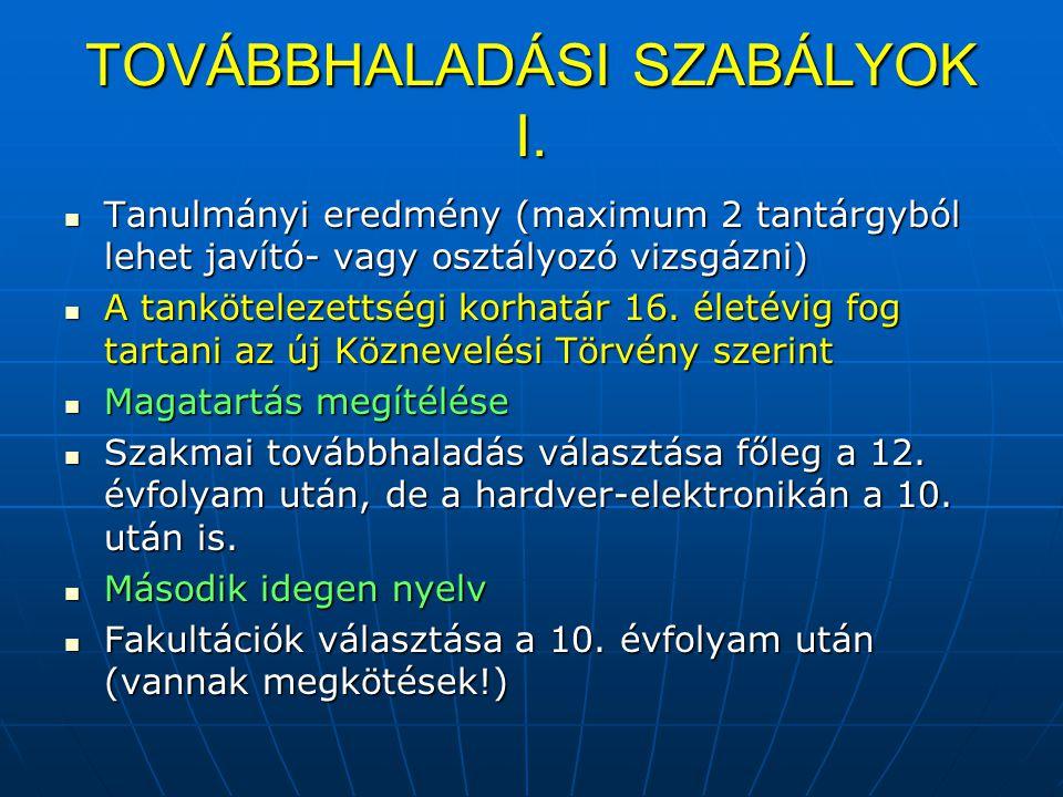 TOVÁBBHALADÁSI SZABÁLYOK I.