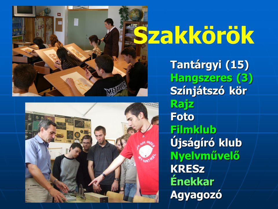 Szakkörök Tantárgyi (15) Hangszeres (3) Színjátszó kör RajzFotoFilmklub Újságíró klub NyelvművelőKRESzÉnekkarAgyagozó