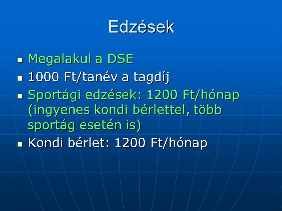 Edzések  Megalakul a DSE  1000 Ft/tanév a tagdíj  Sportági edzések: 1200 Ft/hónap (ingyenes kondi bérlettel, több sportág esetén is)  Kondi bérlet: 1200 Ft/hónap