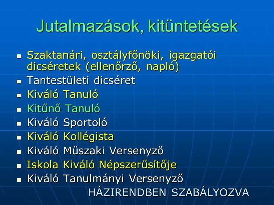 Elmarasztalások, büntetések  Szaktanári  Osztályfőnöki  Igazgatói  Tantestületi  FEGYELMI ELJÁRÁS (pl.