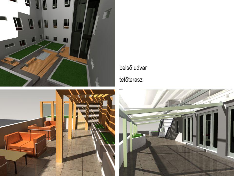 belső udvar tetőterasz