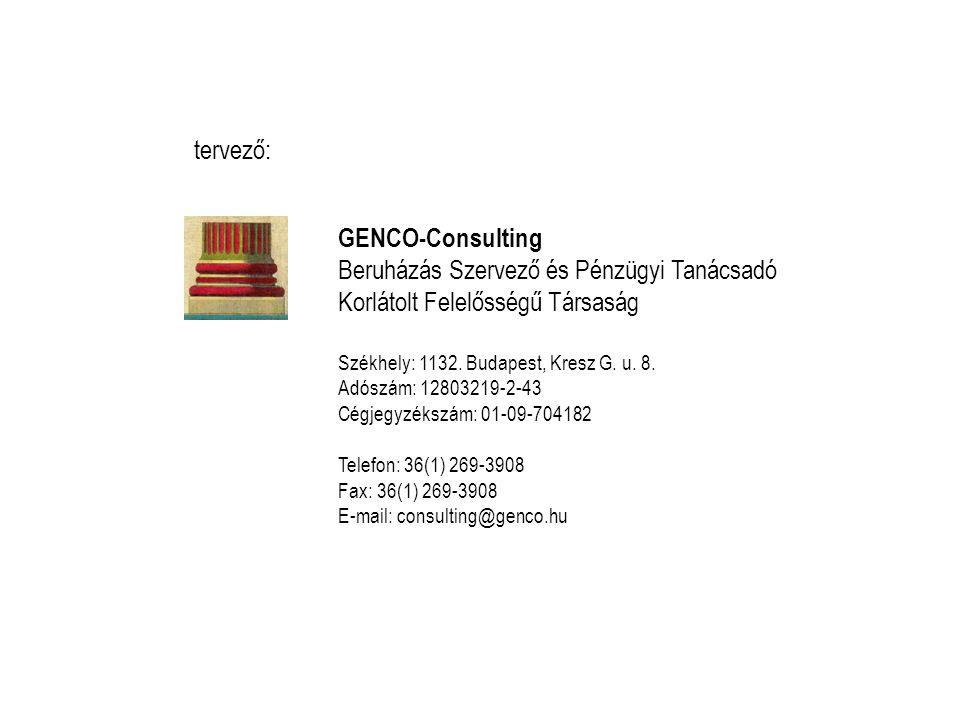 GENCO-Consulting Beruházás Szervező és Pénzügyi Tanácsadó Korlátolt Felelősségű Társaság Székhely: 1132.