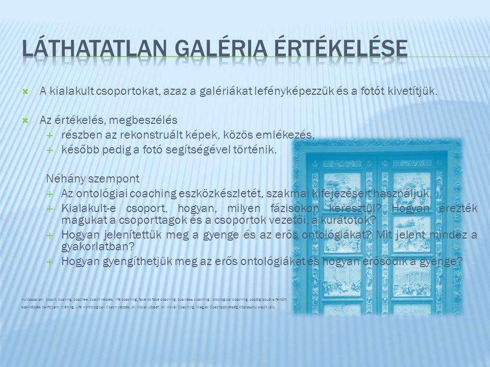  A kialakult csoportokat, azaz a galériákat lefényképezzük és a fotót kivetítjük.
