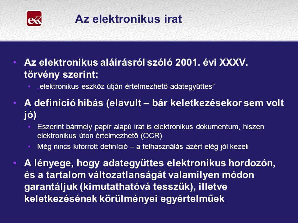 """Az elektronikus irat •Az elektronikus aláírásról szóló 2001. évi XXXV. törvény szerint: •""""elektronikus eszköz útján értelmezhető adategyüttes"""" •A defi"""