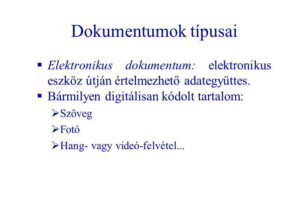 Dokumentumok típusai  Elektronikus dokumentum: elektronikus eszköz útján értelmezhető adategyüttes.  Bármilyen digitálisan kódolt tartalom:  Szöveg