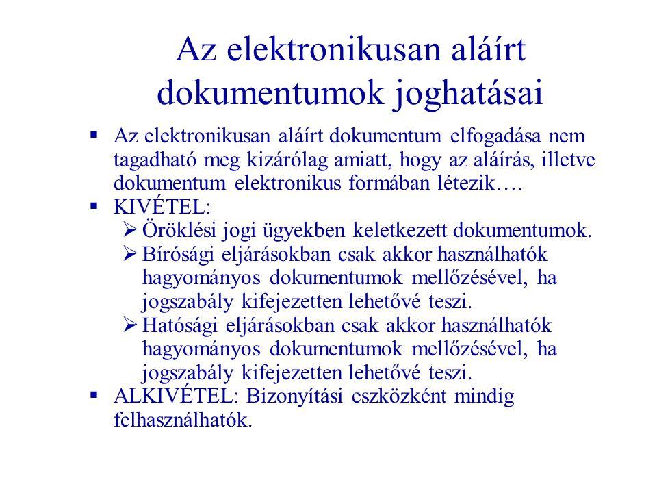 Az elektronikusan aláírt dokumentumok joghatásai  Az elektronikusan aláírt dokumentum elfogadása nem tagadható meg kizárólag amiatt, hogy az aláírás,