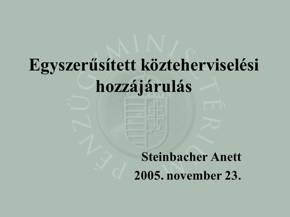 Egyszerűsített közteherviselési hozzájárulás Steinbacher Anett 2005. november 23.