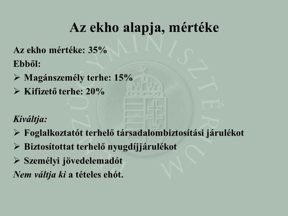 Az ekho alapja, mértéke Az ekho mértéke: 35% Ebből:  Magánszemély terhe: 15%  Kifizető terhe: 20% Kiváltja:  Foglalkoztatót terhelő társadalombizto