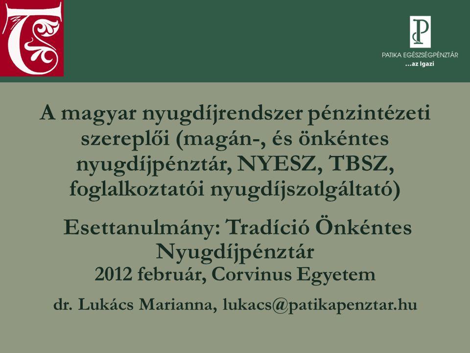 A magyar nyugdíjrendszer pénzintézeti szereplői (magán-, és önkéntes nyugdíjpénztár, NYESZ, TBSZ, foglalkoztatói nyugdíjszolgáltató) Esettanulmány: Tr