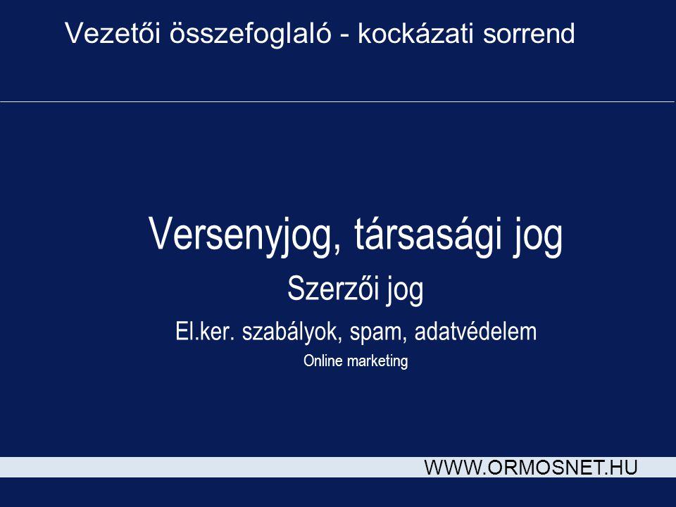 WWW.ORMOSNET.HU Vezetői összefoglaló - kockázati sorrend Versenyjog, társasági jog Szerzői jog El.ker. szabályok, spam, adatvédelem Online marketing