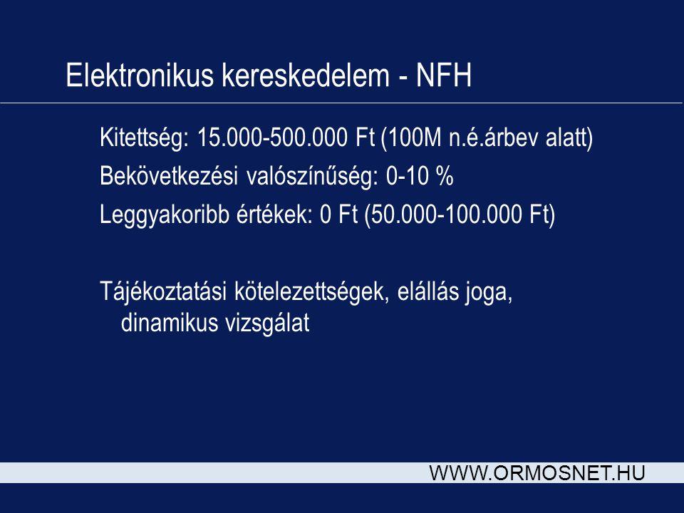 WWW.ORMOSNET.HU Elektronikus kereskedelem - NFH Kitettség: 15.000-500.000 Ft (100M n.é.árbev alatt) Bekövetkezési valószínűség: 0-10 % Leggyakoribb ér