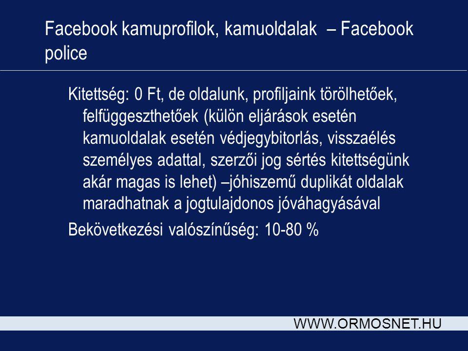 WWW.ORMOSNET.HU Facebook kamuprofilok, kamuoldalak – Facebook police Kitettség: 0 Ft, de oldalunk, profiljaink törölhetőek, felfüggeszthetőek (külön e