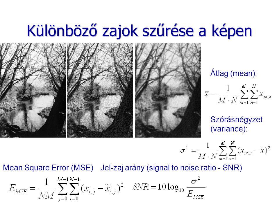 Különböző zajok szűrése a képen Mean Square Error (MSE)Jel-zaj arány (signal to noise ratio - SNR) Szórásnégyzet (variance): Átlag (mean):