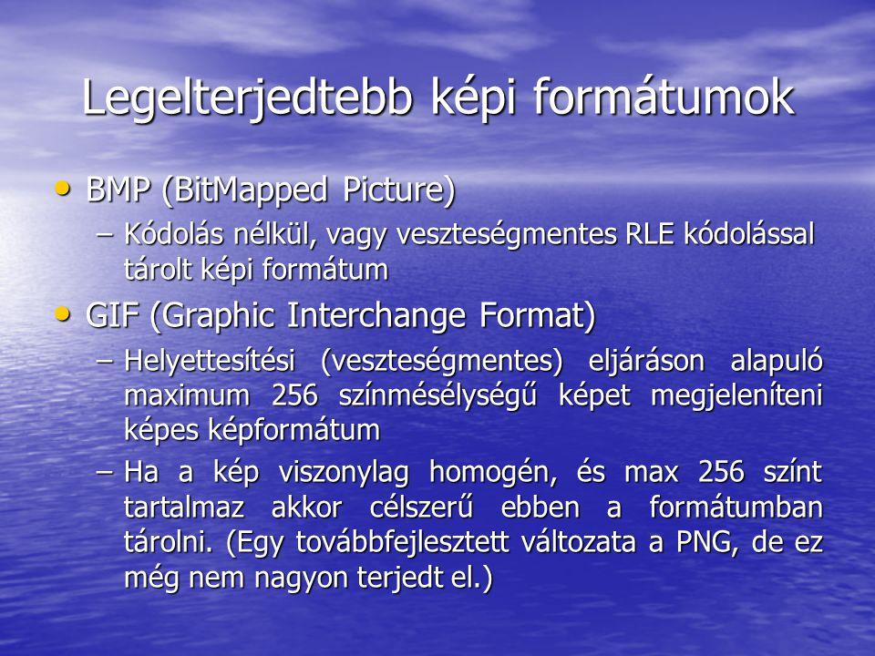 Legelterjedtebb képi formátumok • BMP (BitMapped Picture) –Kódolás nélkül, vagy veszteségmentes RLE kódolással tárolt képi formátum • GIF (Graphic Interchange Format) –Helyettesítési (veszteségmentes) eljáráson alapuló maximum 256 színmésélységű képet megjeleníteni képes képformátum –Ha a kép viszonylag homogén, és max 256 színt tartalmaz akkor célszerű ebben a formátumban tárolni.