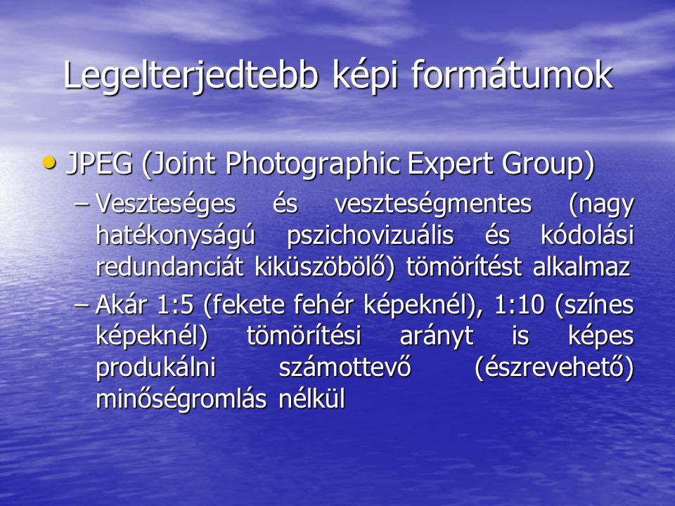 Legelterjedtebb képi formátumok • JPEG (Joint Photographic Expert Group) –Veszteséges és veszteségmentes (nagy hatékonyságú pszichovizuális és kódolási redundanciát kiküszöbölő) tömörítést alkalmaz –Akár 1:5 (fekete fehér képeknél), 1:10 (színes képeknél) tömörítési arányt is képes produkálni számottevő (észrevehető) minőségromlás nélkül
